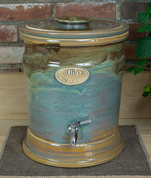 Stoneware water filtration crock green with ceramic stand