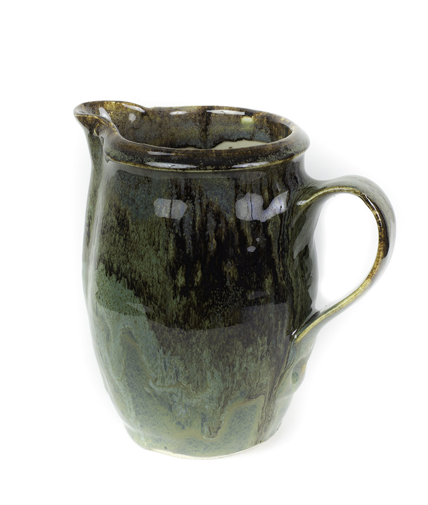 Green stoneware water pitcher 5 cup