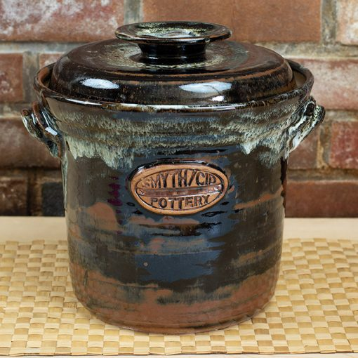 Stoneware fermentation, food preservation crock with water seal and weight, nuka/tenmoku glaze. 1 gallon.