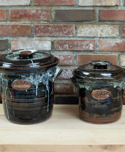 Stoneware fermentation/food preservation crock with water seal lid and weight. 1+ gallon and 2+ gallon.