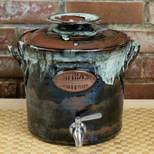 Stoneware kombucha crock with stainless steel spigot, nuka/tenmoku high fired glaze
