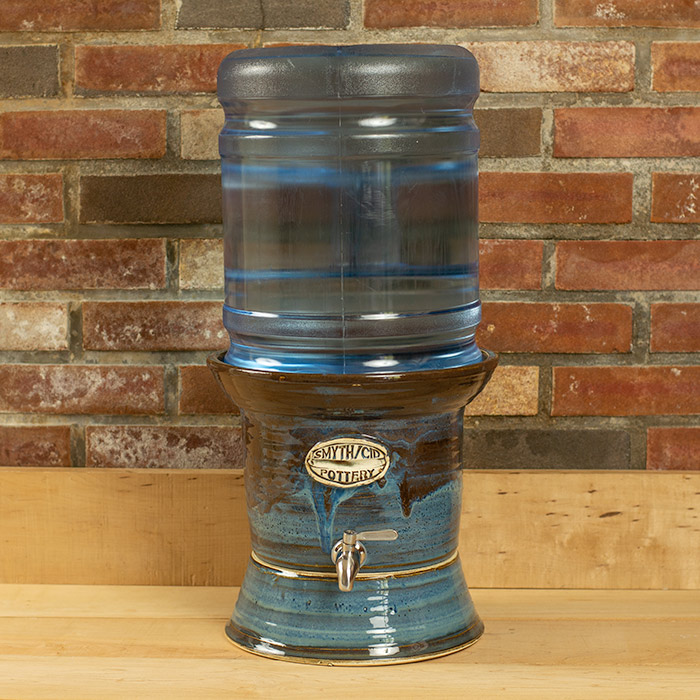Handmade stoneware water cooler for 5 gallon jugs - with stainless still spigot and ceramic stand. Color: blue.